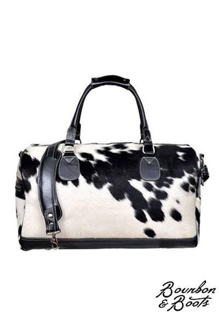 Authentic Black & White Cowhide Leather Overnight Duffel Bag