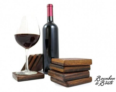 Authentic Reclaimed Napa Valley Wine Barrel Coaster Set