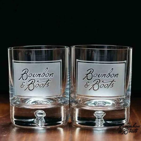 Bourbon & Boots Branded Etched Old Fashioned Whiskey Glass Set