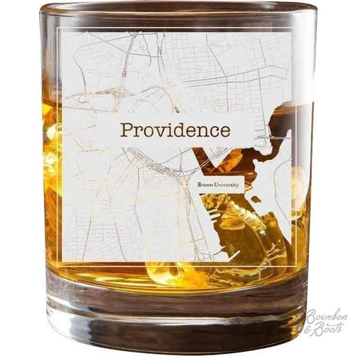 College Town Alumni Etched Map Rocks Cocktail Glasses
