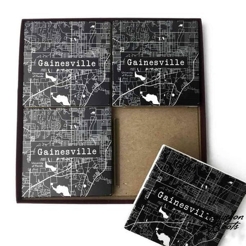 College Town Alumni Etched Map Marble Coaster Set
