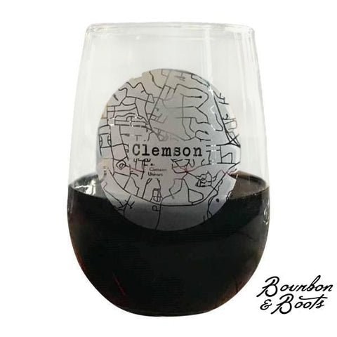 College Town Alumni Etched Map Wine Glasses