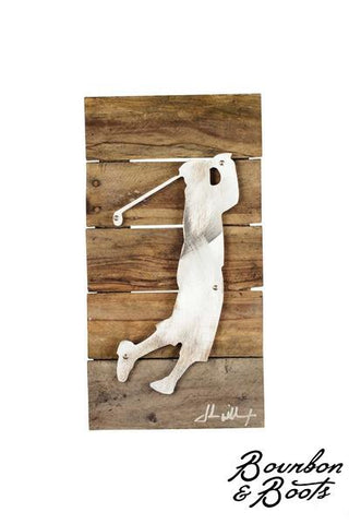 Golf Legends Wood & Shaped Metal Wall Art Decor