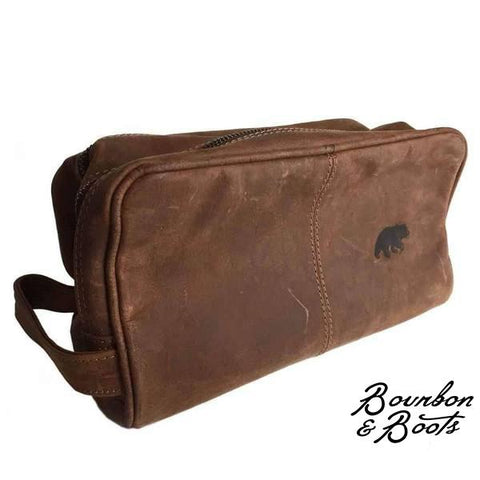 Handcrafted Large Buffalo Leather Dopp Kit