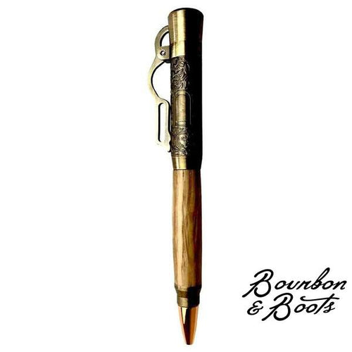Handcrafted Wood Bourbon Barrel Lever Action Pen image
