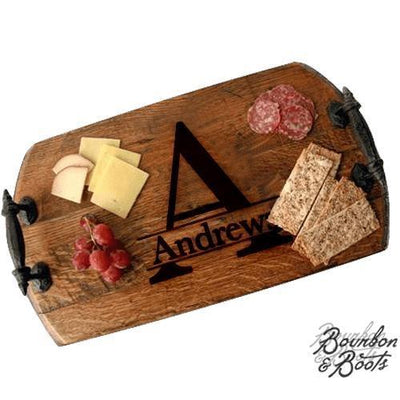 Monogrammed Bourbon Barrel Wooden Serving Tray With Rustic Iron Handles