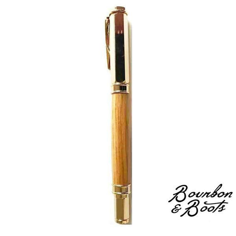 Handmade Wooden Bourbon Barrel Rollerball Pen w 24kt Gold Plating