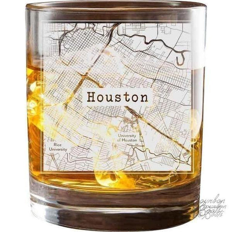 Texas Etched City Map Double Old Fashioned Glass Set