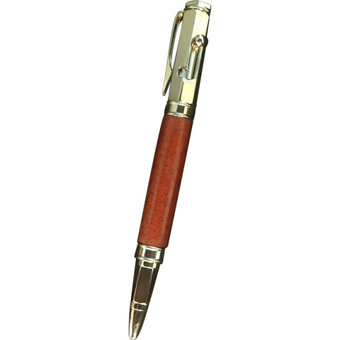 Hexagonal 24kt Gold Bolt Action Exotic Wood Pen