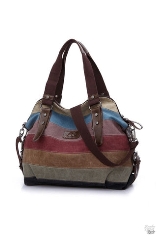 Ladies Soft Pastel Striped Canvas Hobo Bag