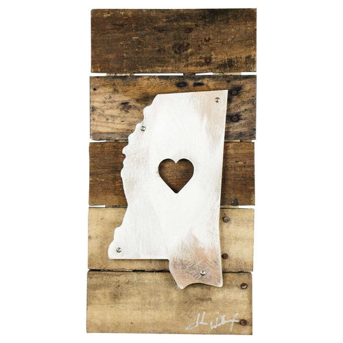 Mississippi Heart Reclaimed Wood & Shaped Metal Art image