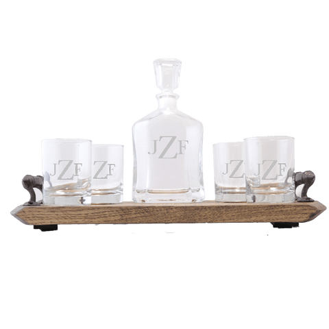Personalized Whiskey Decanter & Glass Set With Serving Tray