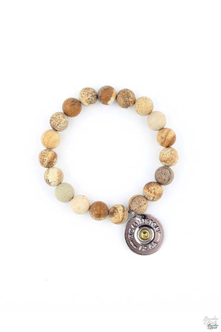Natural Wood Beaded Bracelet with 12 Ga. Silver Shotgun Shell
