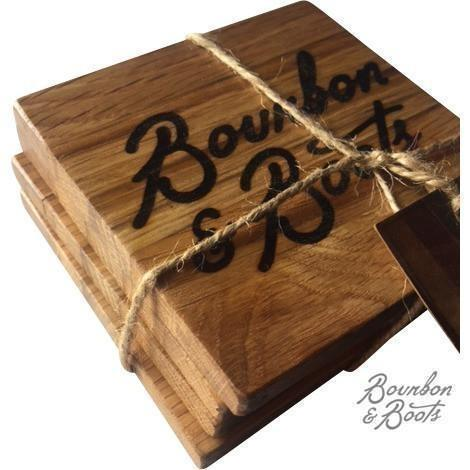 Reclaimed Bourbon Barrel Coaster Set