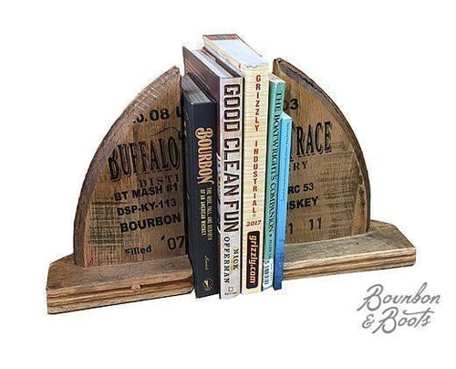 Reclaimed Bourbon Barrel Handcrafted Wood Bookends image