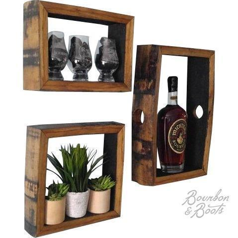 Reclaimed Bourbon Barrel Wall Mount Shadow Boxes