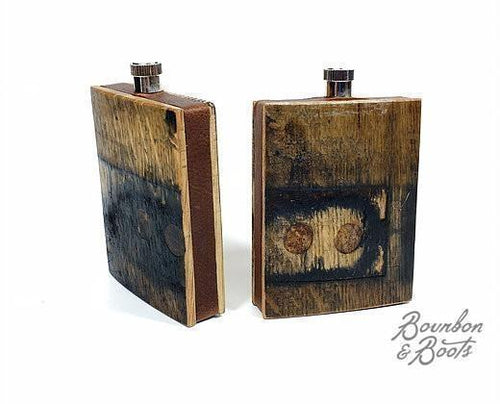 Reclaimed Bourbon Barrel Wood Flask image