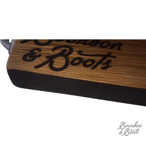 Reclaimed Bourbon Barrel Wood Serving Tray image