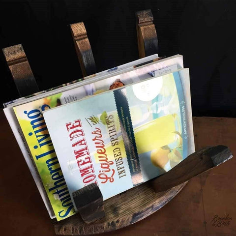 Reclaimed Bourbon or Wine Barrel Magazine Rack