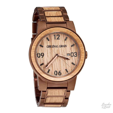 Reclaimed Whiskey Barrel Wood Grain Wrist Watch