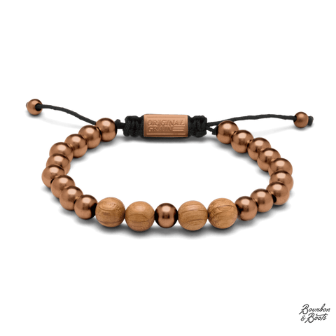 Reclaimed Whiskey Barrel & Zebra Wood Macrame Bracelets