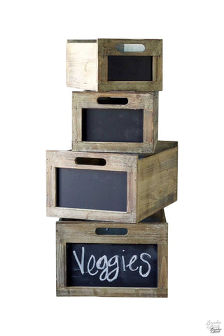 Reclaimed Wood Produce Crate Set with Blackboard