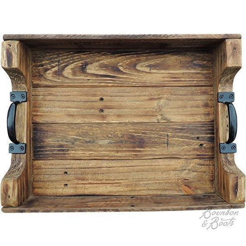 Rustic Wood Coffee Table Serving Tray image