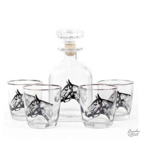 Seabiscuit Whiskey Decanter Set w/ Tapered Old Fashion Glasses