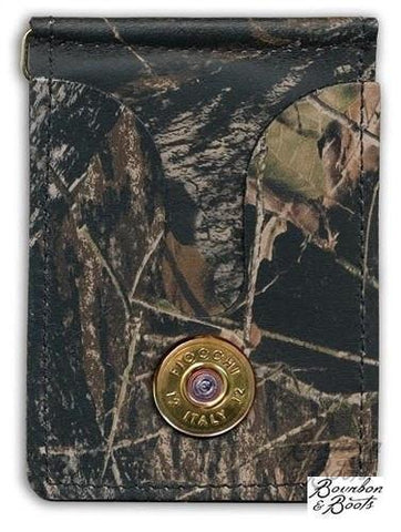 Shotgun Shell Bullet Leather Money Clip & Card Holder