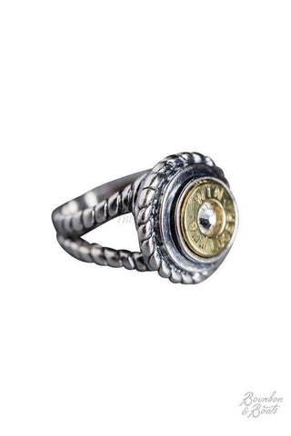 Silver 9mm Bullet Casing Ring with Rope Band