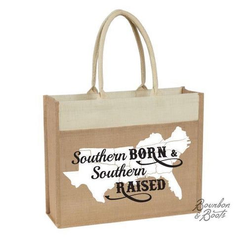 Southern Raised Saying Natural Jute Tote Bag