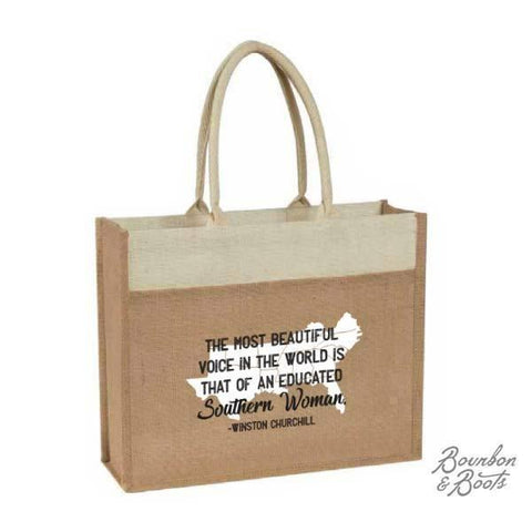 Southern Woman Natural Jute Tote Bag