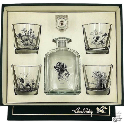 Sporting Dogs Decanter & 4 Tapered Old Fashion Glasses image