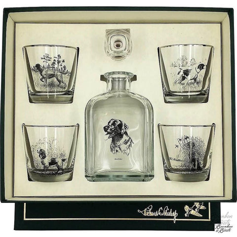Sporting Dogs Decanter & 4 Tapered Old Fashion Glasses