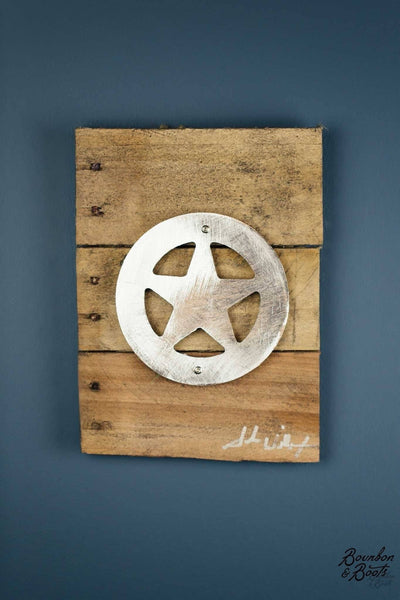 Texas Ranger Star Wood Amp Shaped Metal Art Wall Decor