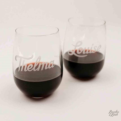 Thelma & Louise Engraved Wine Glass Set