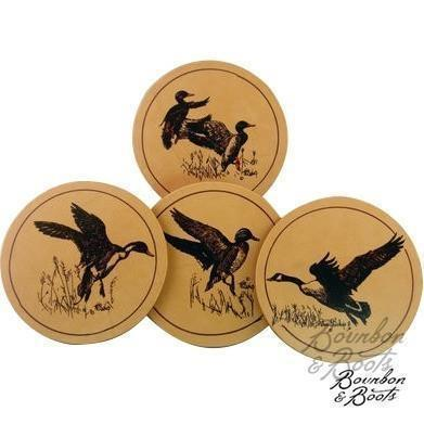 Waterfowl Leather Coasters