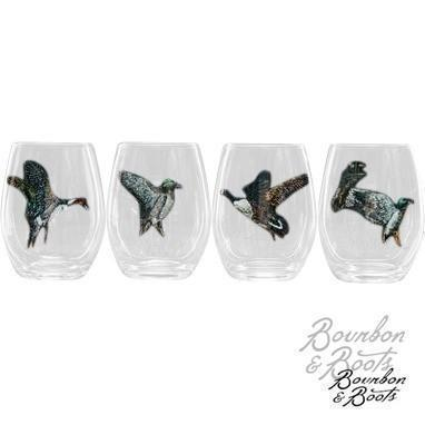Waterfowl Stemless Wine Glass Set
