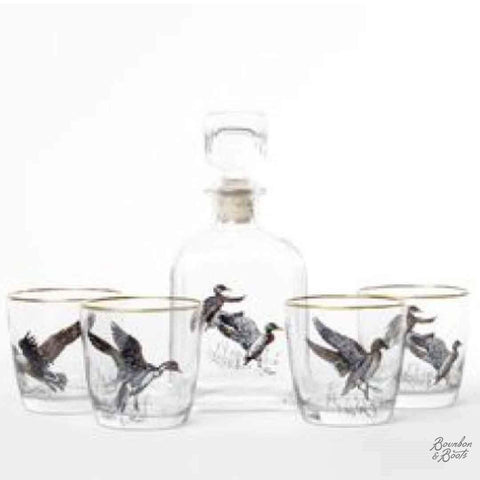 Waterfowl Whiskey Decanter Set w/4 Tapered Old Fashion Glasses