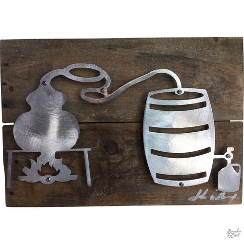 Whiskey Still Reclaimed Wood & Shaped Metal Art image
