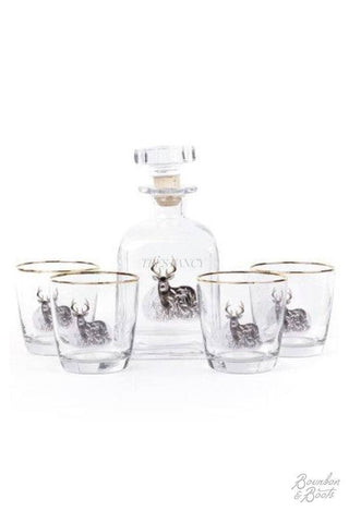 Whitetail Deer Whiskey Decanter Set w/ 4 Tapered Old Fashion Glasses