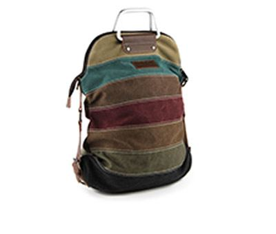 LADIES SOFT PASTEL STRIPED CANVAS TOTE BAG