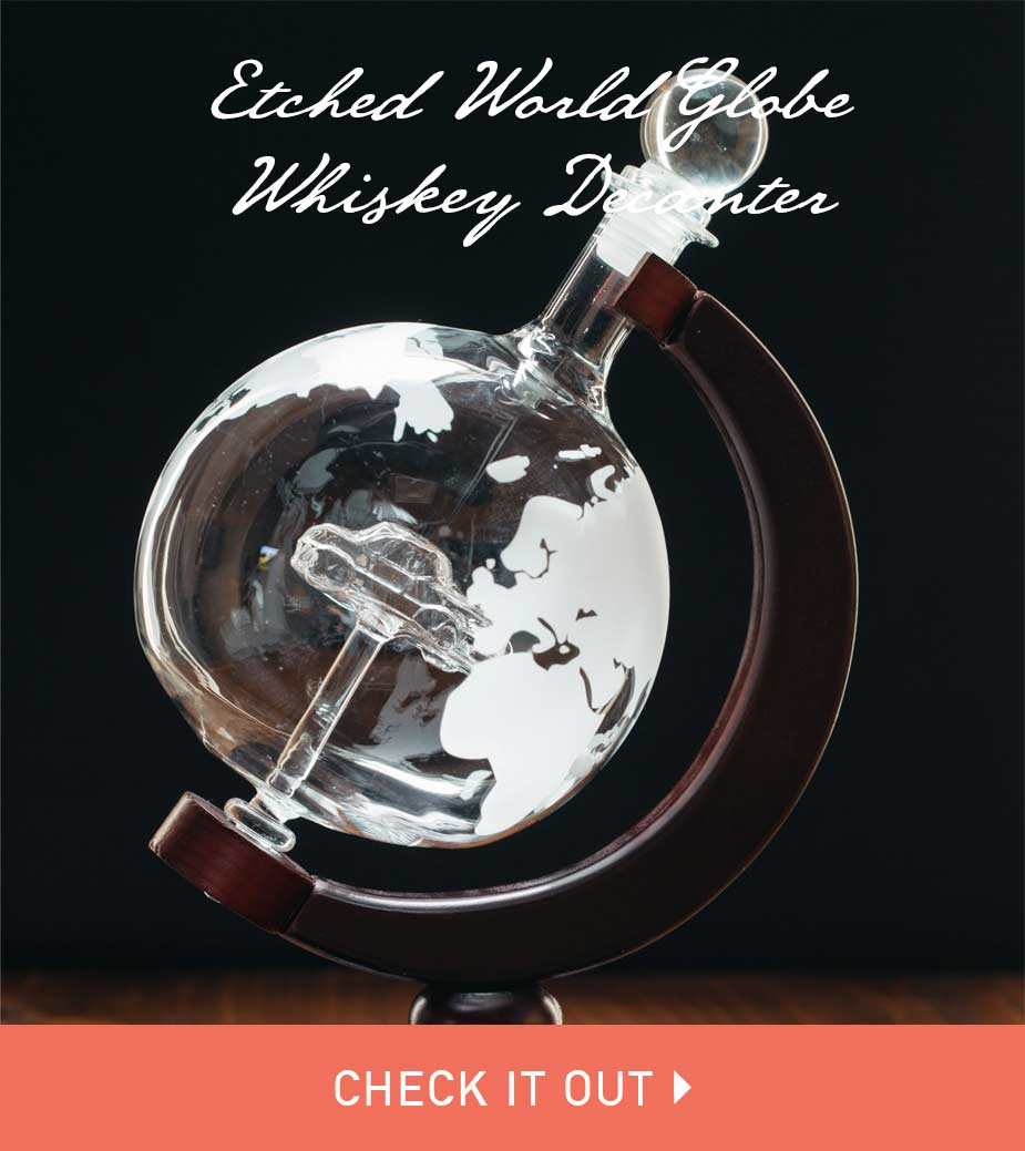 Etched World Globe Whiskey Decanter