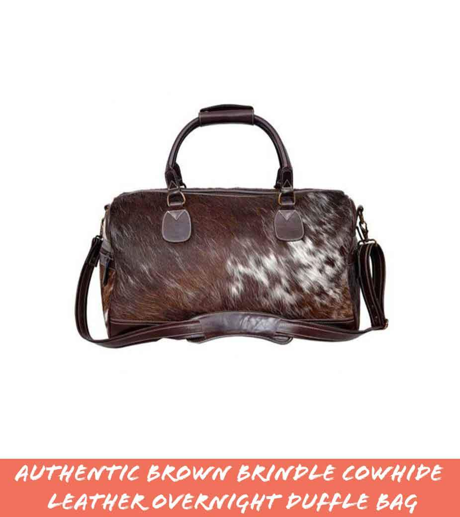 Authentic Brown Brindle Cowhide Leather Overnight Duffle Bag