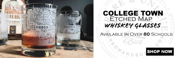 College Town Alumni Etched Map Whiskey Drinking Glass Sets