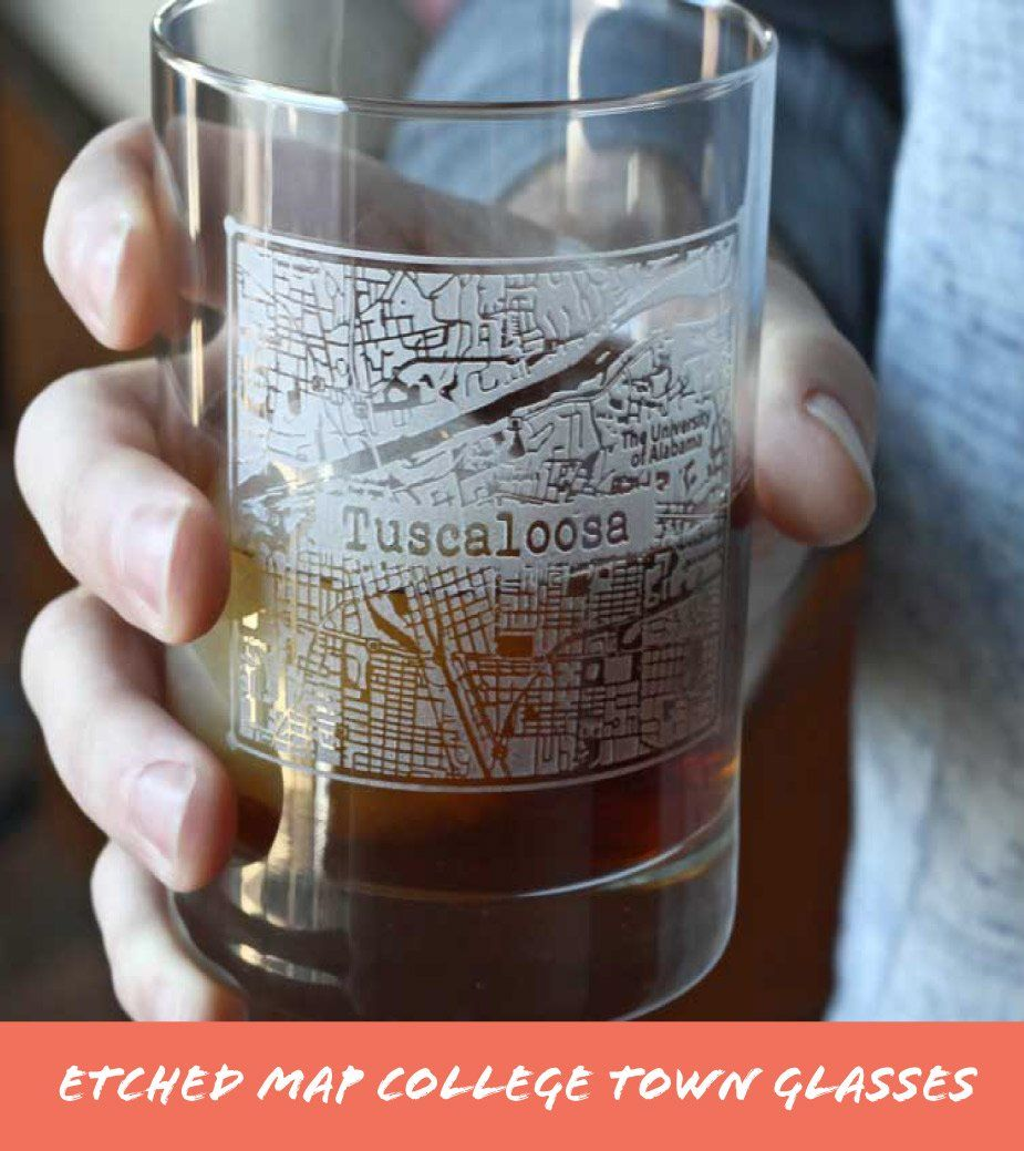 Etched Map College Town Whiskey Glasses