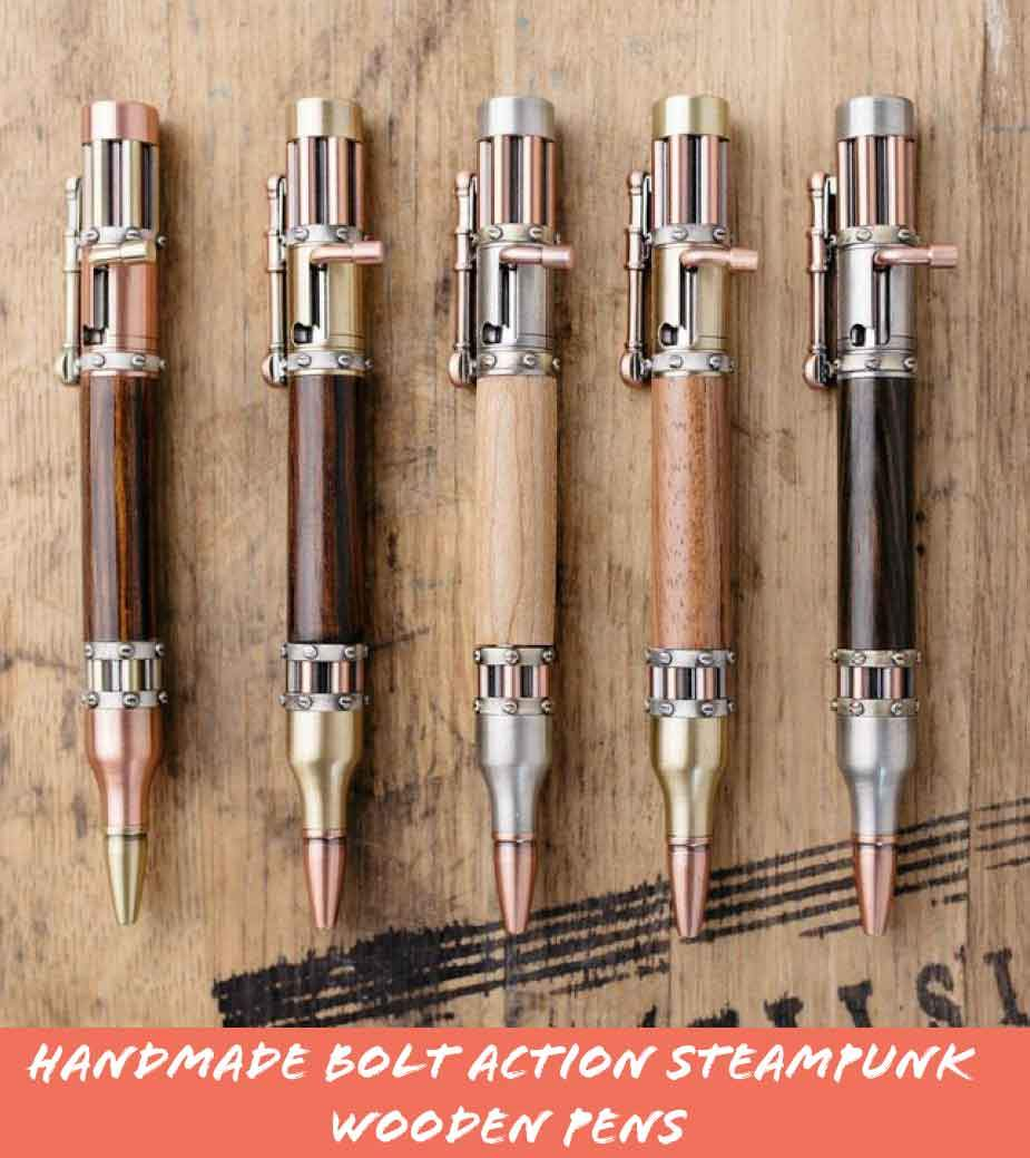 Handmade Bolt Action Wooden Steampunk Pens