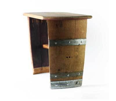 RECLAIMED WINE BARREL END TABLE