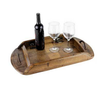 RECLAIMED WINE BARREL WOOD SERVING TRAY