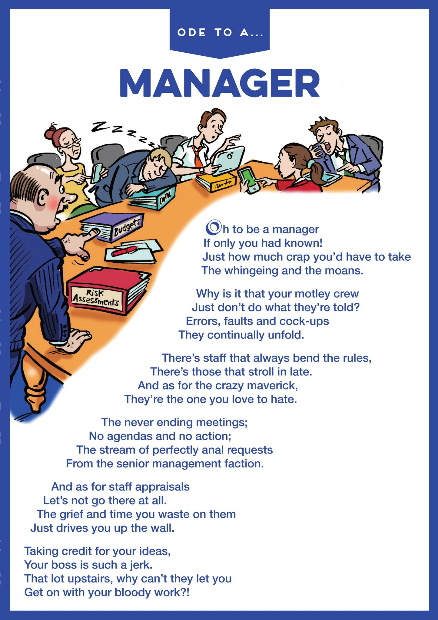 ode to a manager greetings card in jest in jest